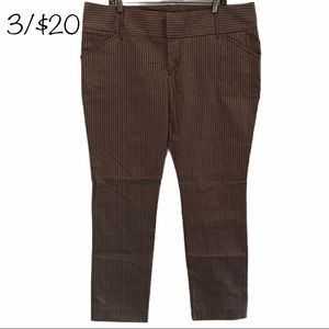 Old Navy brown striped pants stretch size 16